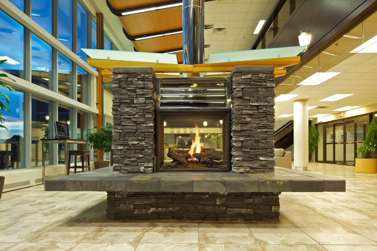 fireplace in waiting area