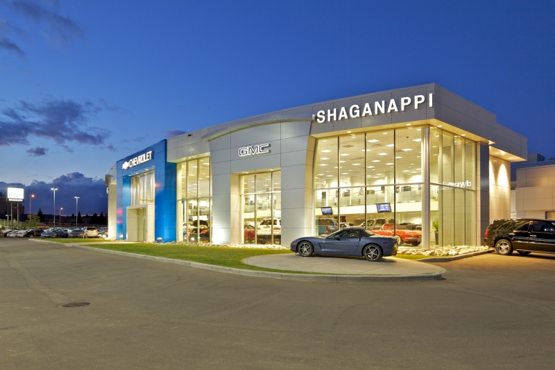 Shaganappi exterior night
